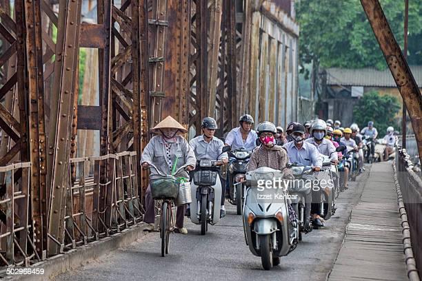 Heavy motorcycle traffic of Paul Doumer bridge