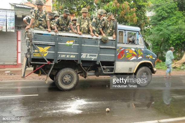Heavy Police and Paramilitary deployment in Baduria after protests over an objectionable social media post on July 5 2017 in North 24 Parganas India...