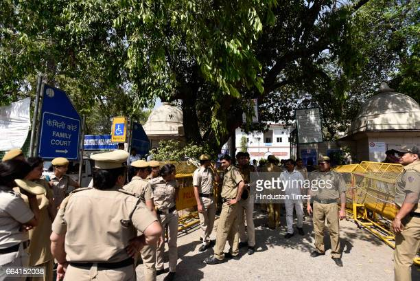 Heavy police deployment outside Patiala House Court after Unitech Ltd Managing Director Ajay Chandra and Sanjay Chandra were brought to Patiala House...