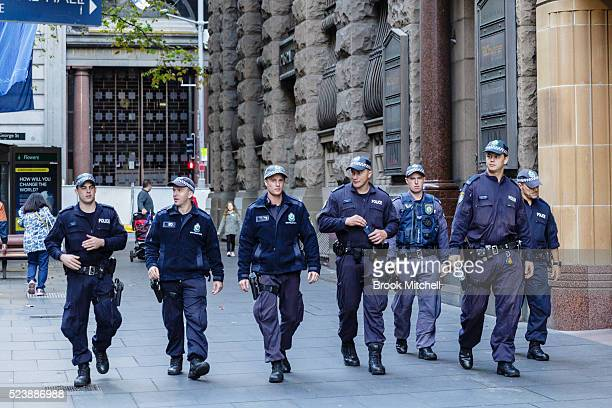 Heavy police presence in Sydney for the ANZAC day dawn service and parade on April 25 2016 in Sydney Australia Australians commemorating 101 years...