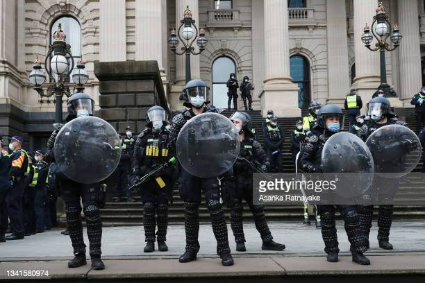 Heavy police presence is seen at Parliament House during a protest on September 21, 2021 in Melbourne, Australia. Protests started outside the...