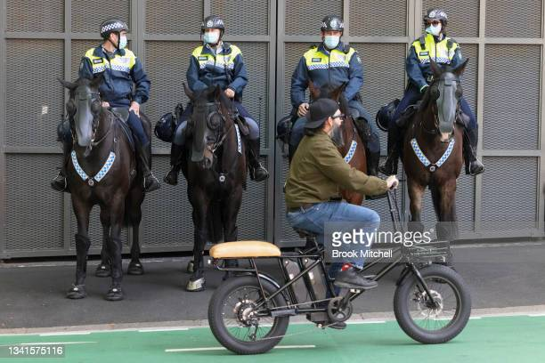 Heavy Police presence is seen in Pyrmont on September 21, 2021 in Sydney, Australia. NSW police officers have been deployed to the Construction,...