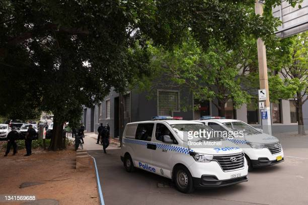 Heavy Police presence is seen outside the CMFEU office in Pyrmont on September 21, 2021 in Sydney, Australia. NSW police officers have been deployed...