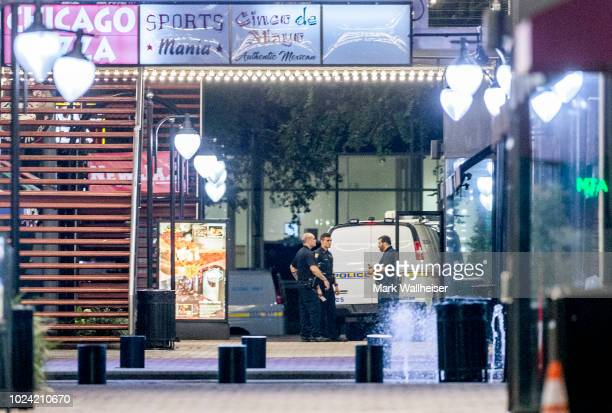 A heavy police presence remains into the night at the shooting inside Jacksonville Landing on August 26 2018 in Jacksonville Florida A shooting...