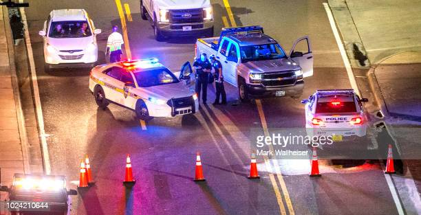Heavy police presence remains into the night at the shooting outside Jacksonville Landing on August 26, 2018 in Jacksonville, Florida. A shooting...