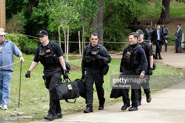 Heavy Police security are seen for HRH Queen Elizabeth II at Jamestown Settlement on the second day of her USA tour on May 4 2007 in Williamsburg...