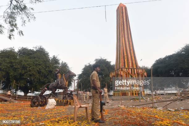 Heavy police security deployed after the clashes between Dalit groups and supporters of rightwing Hindutva organisations broke out during the 200th...