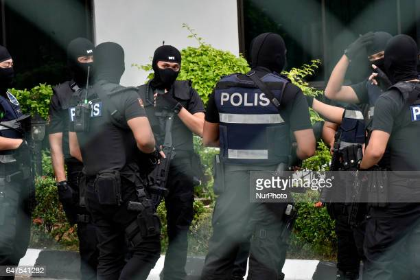 Heavy presence of Special Staff Force is seen at IPD Sepang police station on March 03 2017 in Kuala Lumpur Malaysia North Korean national Ri Jong...