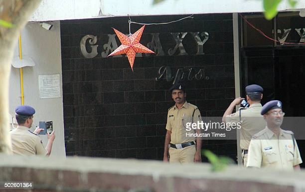 Heavy presence of SRPF personnel to control the crowd of fans gathered outside the Bandra residence of Bollywood actor Salman Khan on his 50th...