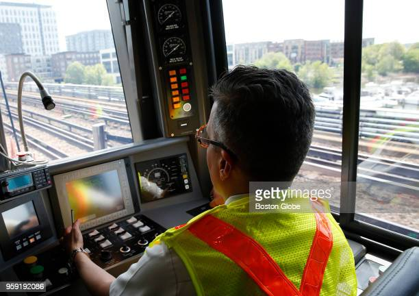 Heavy Rail Instructor Tomas Gonzales operates a new MBTA Orange Line car in Medford MA on May 15 2018 The first new train is expected to enter...