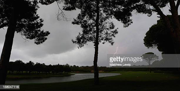 Heavy rain and thunderstorms delay the start of the first day of the Titleist PGA PlayOffs at the PGA Sultan Course Antalya Golf Club on December 10...