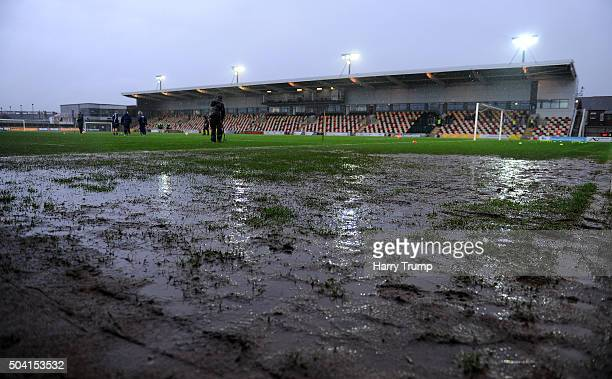 Heavy rain causes the postponement of the match during The Emirates FA Cup Third Round match between Newport County and Blackburn Rovers at Rodney...
