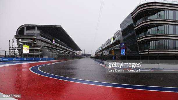 Heavy rain falls on track before final practice ahead of the F1 Grand Prix of Russia at Sochi Autodrom on September 25, 2021 in Sochi, Russia.