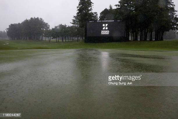 Heavy rain hit the 18th green after the second round of the Zozo Championship is postponed due to heavy rain at Accordia Golf Narashino Country Club...