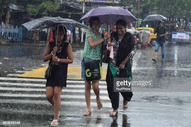 heavy rain in Kolkata City on October 202017 in India