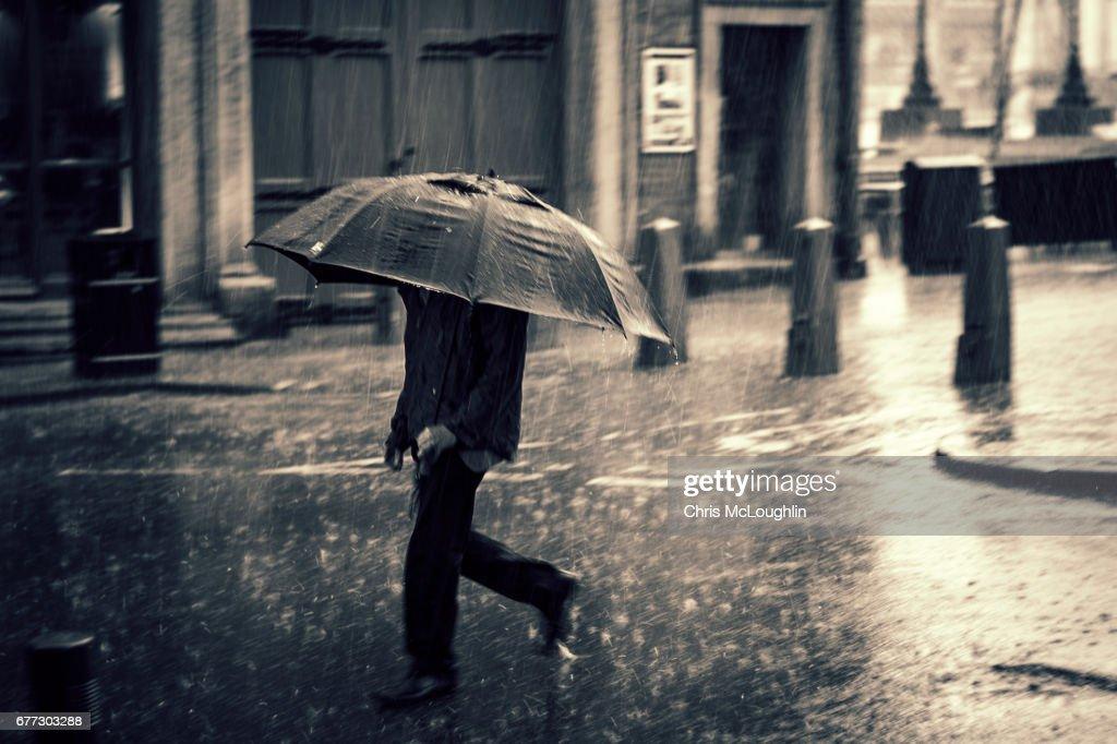 Heavy rain in Leeds : Stock Photo