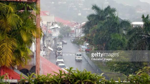 Heavy rain Rue de la Republique Gustavia St Barts.