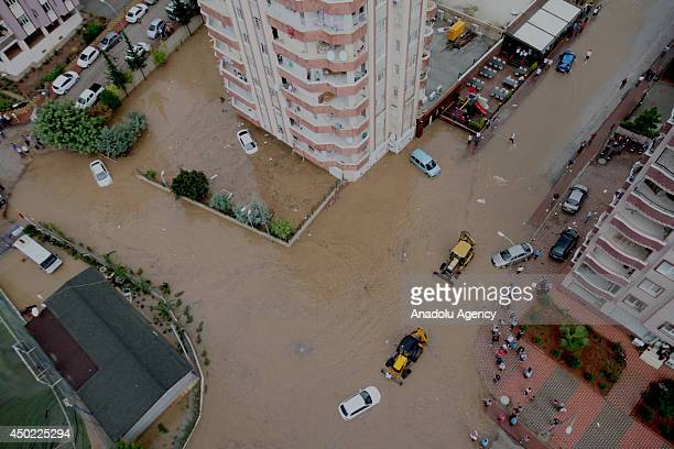 Heavy rainfall affects the life negatively in southern city Adana Turkey on June 7 2014 Basement floors are flooded cars are stuck in the floodwater...