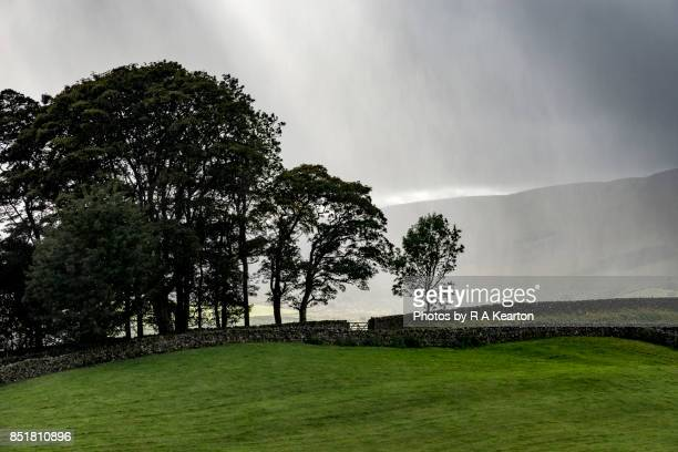 Heavy rainfall in the Yorkshire Dales, Northern England