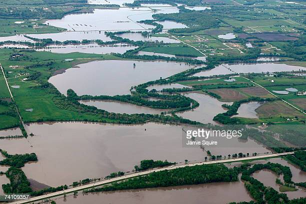Heavy rains bring flooding from the Missouri River to midwest farmland on May 8 2007 in the surrounding area of Kansas City Missouri Many towns along...