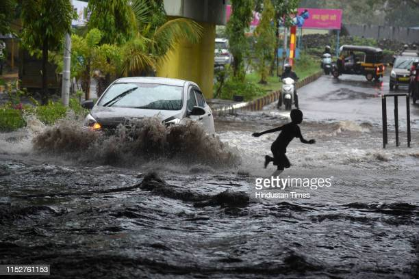 Heavy rains causes water logging at Railway Under Pass Sanpada on June 28 2019 in Navi Mumbai India Several areas of Mumbai woke up to heavy downpour...