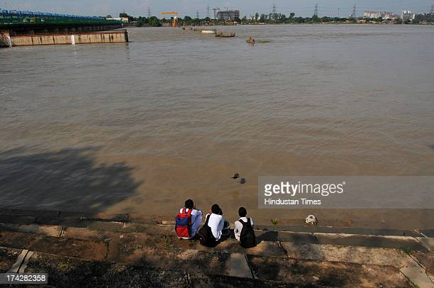 Heavy rains lashed several parts of the country causing floods and leading to loss of lives and damage to property on July 23 2013 in Noida India...