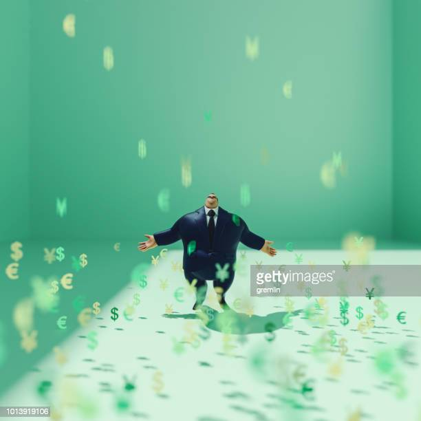 Heavy rich businessman and raining currencies