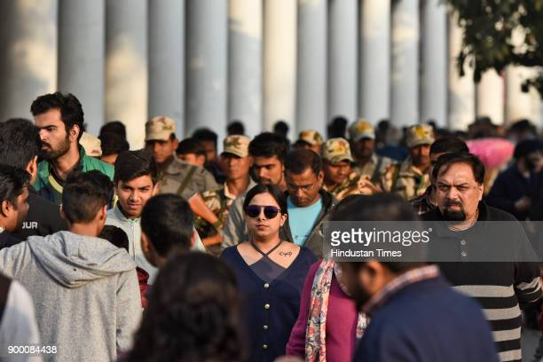 Heavy rush at Connaught Place on the eve of New Year on December 31 2017 in New Delhi India People of Delhi throng to the markets and parks ahead of...