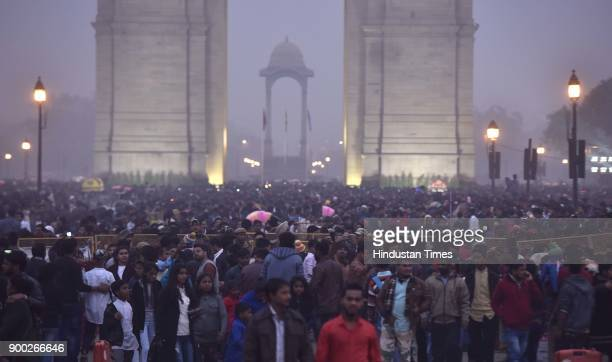 Heavy rush at India Gate as people enjoy the first day of the New Year 2018 on January 1 2018 in New Delhi India
