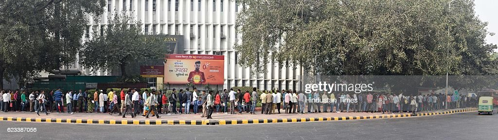 Heavy rush at Punjab National Bank Patel Chowk to replace 500 and 1000 rupee notes after the Central Government demonetized the Indian currency of...