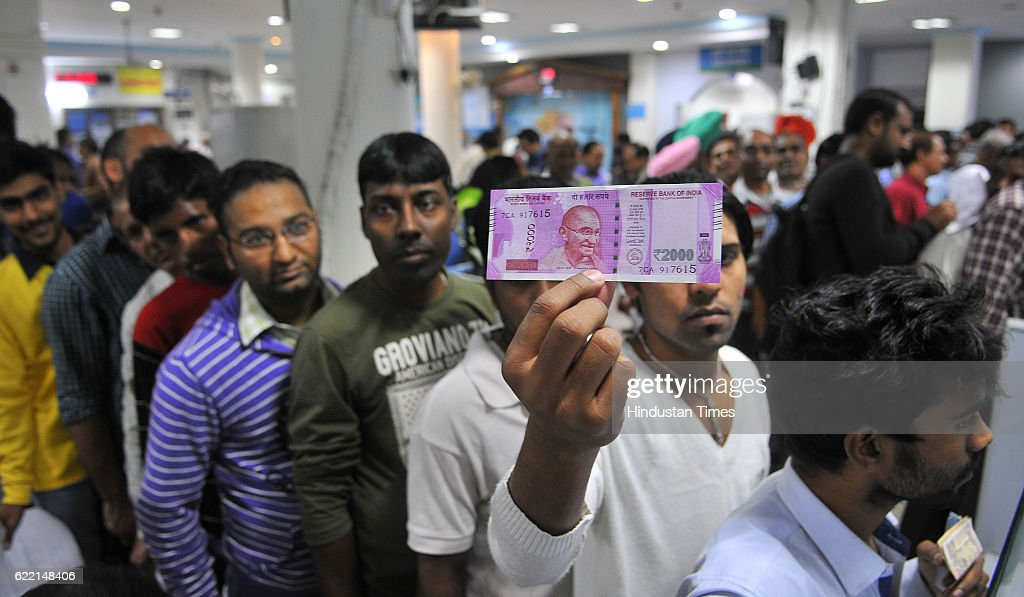 Heavy rush inside the SBI Bank for withdrawal as well to deposit the defunct old Rs 500 and Rs 1000 note at Sector 17 on November 10 2016 in...