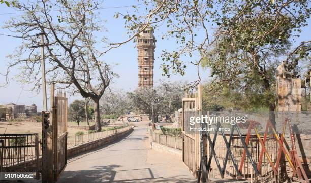 Heavy security and barricading at the historic Vijay Stambh near which Jauhar was performed by Queen Padmawati centuries ago inside Chittorgadh fort...