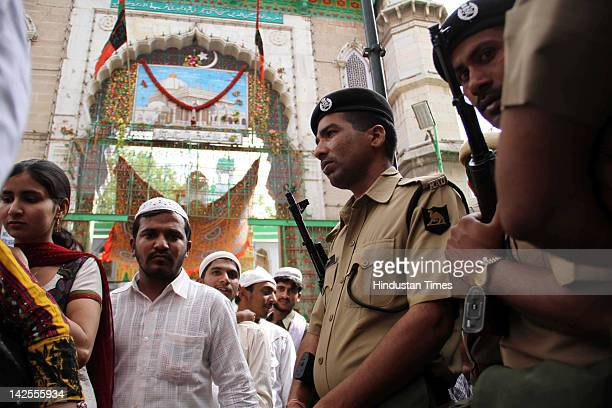 Heavy security arrangement is seen outside Hazart Khawaja Moinuddin Hasan Chisty Dargah on the eve of Pakistani President A A Zardari's visit on...