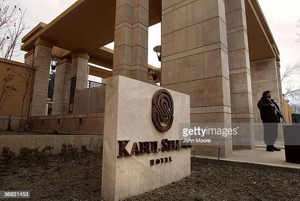 Heavy security surrounds the new 5 star Serena Hotel February 10 2006 in Kabul Afghanistan The hotel opened in November 2005 and is located in the...