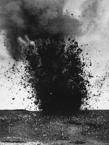 A heavy shell exploding during the Battle of the Somme....