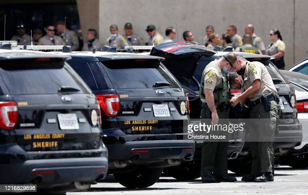 A heavy Sheriff's presence is seen at Los Cerritos Center on Monday June 1 2020 in wake of looting across Los Angeles County