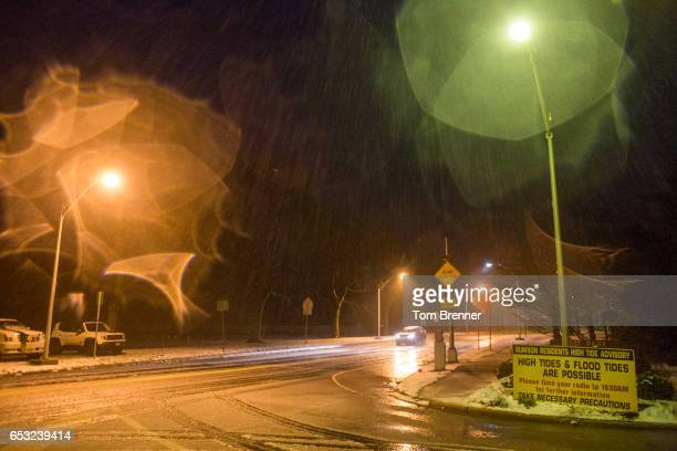 Heavy sleet comes down on Rumson Road in the early hours of March 14 2017 in Rumson New Jersey Due to high winds tidal waters are expected to remain...