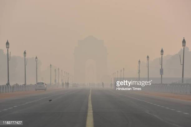 Heavy smog envelops India Gate on November 21 2019 in New Delhi India Air quality in many parts of Delhi and the National Capital Region turned...