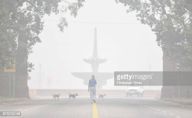 Heavy Smog hits the National Capital resulting in less visibility in morning on November 12 2017 in New Delhi India Air pollution levels skyrocketed...