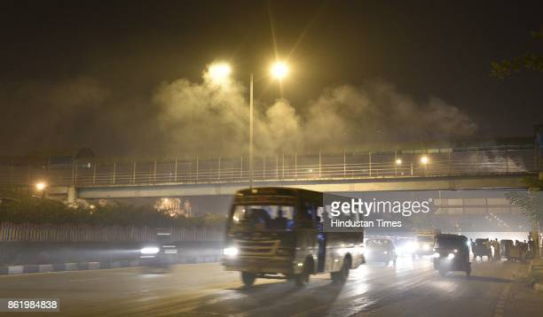 Heavy smog on last Sunday night in the capital near Geeta Colony Ring Road on October 16 2017 in New Delhi India There has been a sudden increase in...