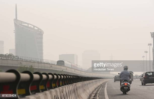 Heavy smog witnessed in the city that made commuting difficult as visibility was less than 50 meters on November 12 2017 in Gurgaon India Air...