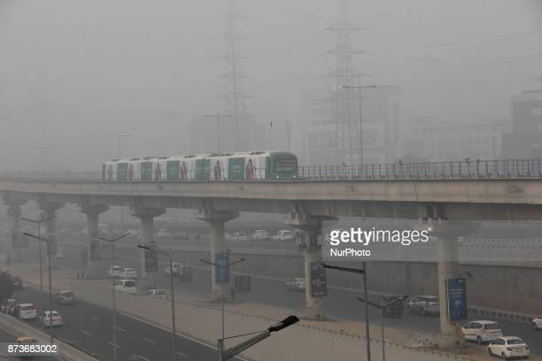 Heavy smog witnessed in the city that made commuting difficult as visibility was less than 50 meters on November 13 2017 in Gurgaon India