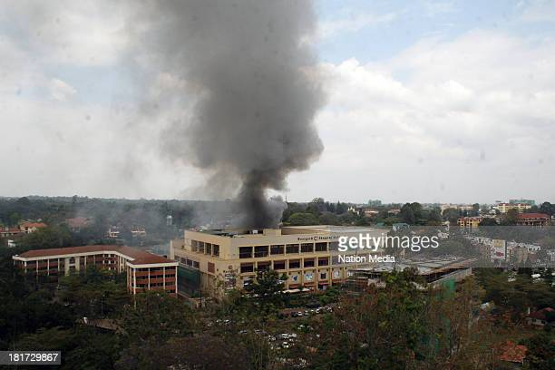 Heavy smoke is seen from the site of the terrorist attack, Westgate Mall, on September 23, 2013 in Nairobi, Kenya. The attack occurred on Saturday,...
