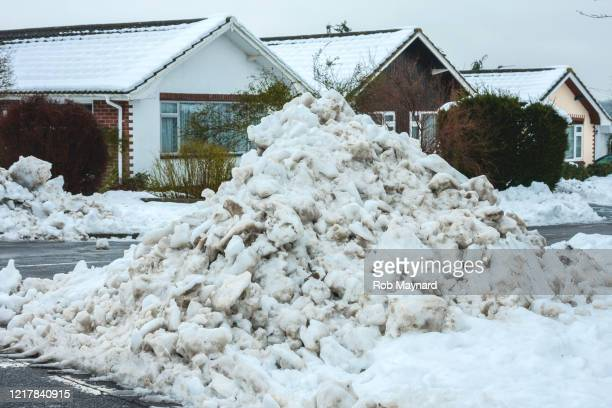 heavy snow at the road during winter - publisher stock pictures, royalty-free photos & images