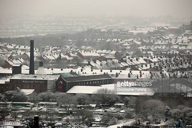 Heavy Snow covers the slate roof tops of Stoke on January 21 2013 in Stoke On Trent United Kingdom The Met Office has issued a red weather warning...