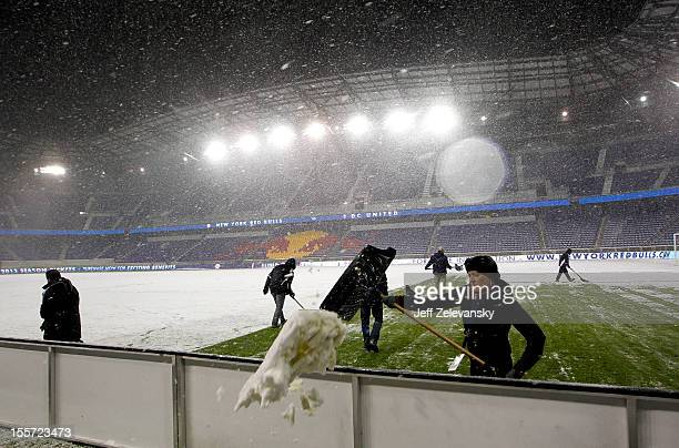 Heavy snow falls at Red Bull Arena prior to the Eastern Conference Semifinal match between DC United and the New York Red Bulls on November 7 2012 in...