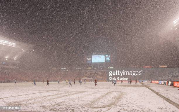 Heavy snow falls during the game between Real Salt Lake and Sporting Kansas City at Rio Tinto Stadium on November 8, 2020 in Sandy, Utah.