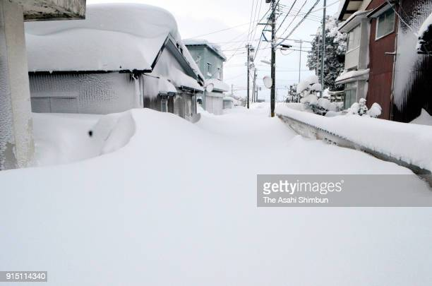 Heavy snow falls on February 6 2018 in Fukui Japan The SelfDefense Forces were called out to rescue around 1000 vehicles stranded in heavy snow on...