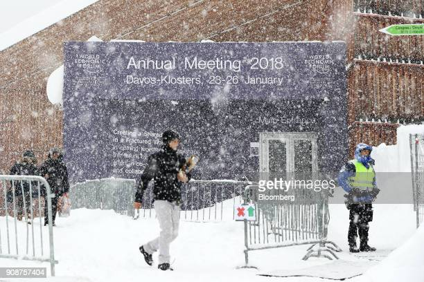 Heavy snow falls outside the Congress Center ahead of the World Economic Forum in Davos Switzerland on Monday Jan 22 2018 World leaders influential...