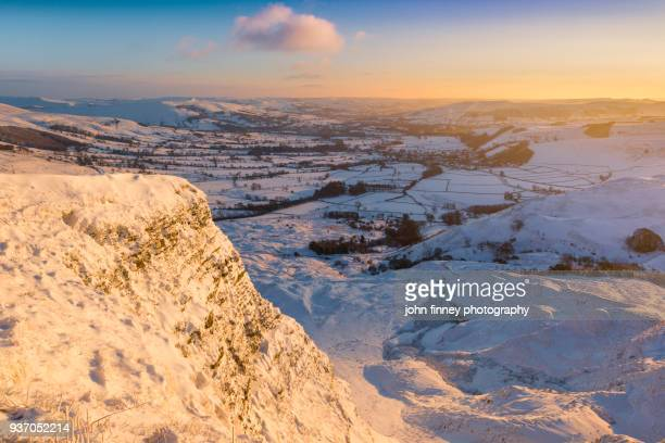 Heavy snow in Derbyshires Peak District National park, UK